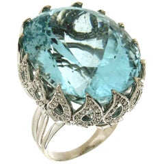 Brazilian Aquamarine White Gold Diamonds Cocktail Ring