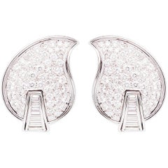 Ella Gafter Pave Diamond White Gold Flower Leaf Clip-On Earrings