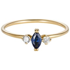 Sweet Pea 18 Carat Yellow Gold Marquise Blue Sapphire and Diamond Ring