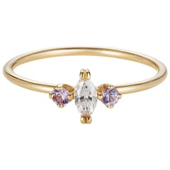 Sweet Pea 18k Gold Marquise Diamond and Pink Sapphire Engagement Ring