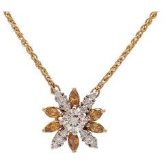 Fancy Yellow Marquise Diamond Pendant in 18 Karat Yellow Gold