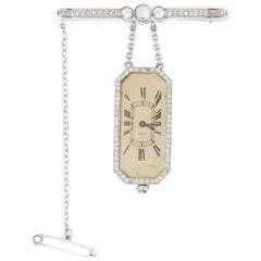Cartier Platinum Diamond 1912 Vintage Brooch Watch