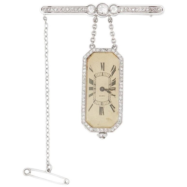 Cartier Platinum Diamond 1912 Vintage Brooch Watch  For Sale