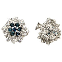 Pair of White Gold, Sapphire and Diamond Cluster Earrings