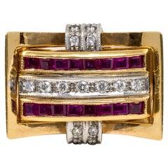 Diamond, Sapphire, Ruby and 18 Karat Gold Swivel Ring
