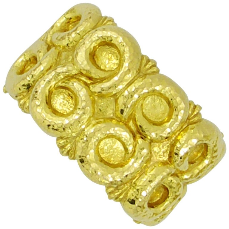 David Webb Yellow Gold Hammered Nautilus Cuff Bracelet For Sale
