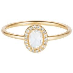 18 Carat Yellow Gold Rose Cut, Oval Diamond Halo Engagement Ring