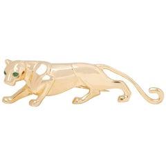 Cartier 18 Karat Yellow Gold Emerald Panthère Brooch