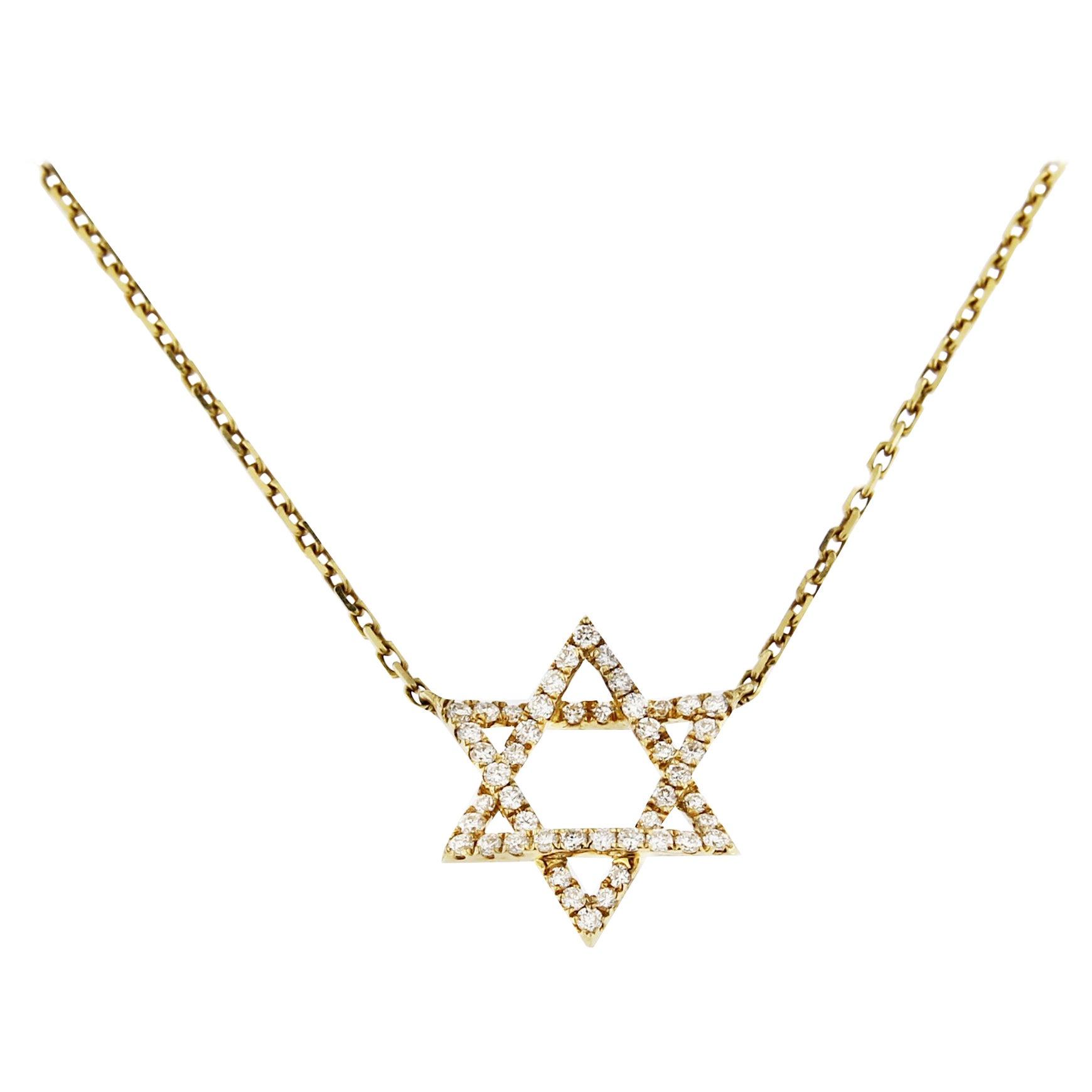 Jona White Diamond 18 Karat Yellow Gold Magen David Pendant Necklace