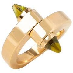 Cartier Yellow Gold Peridot Menotte Ring