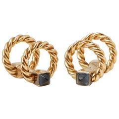 Cartier Vintage Yellow Gold Sapphire Cufflinks