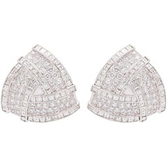 Ella Gafter Large Pave Diamond Baguette Triangular White Gold Clip-On Earrings