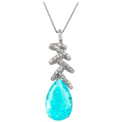 18k White Gold - 28.12ct Paraiba Tourmaline - 3.99ct Round Diamonds Pendant