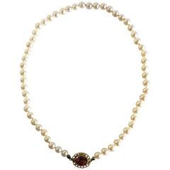Georg Jensen Pearl Necklace with 18 Karat Gold Lock