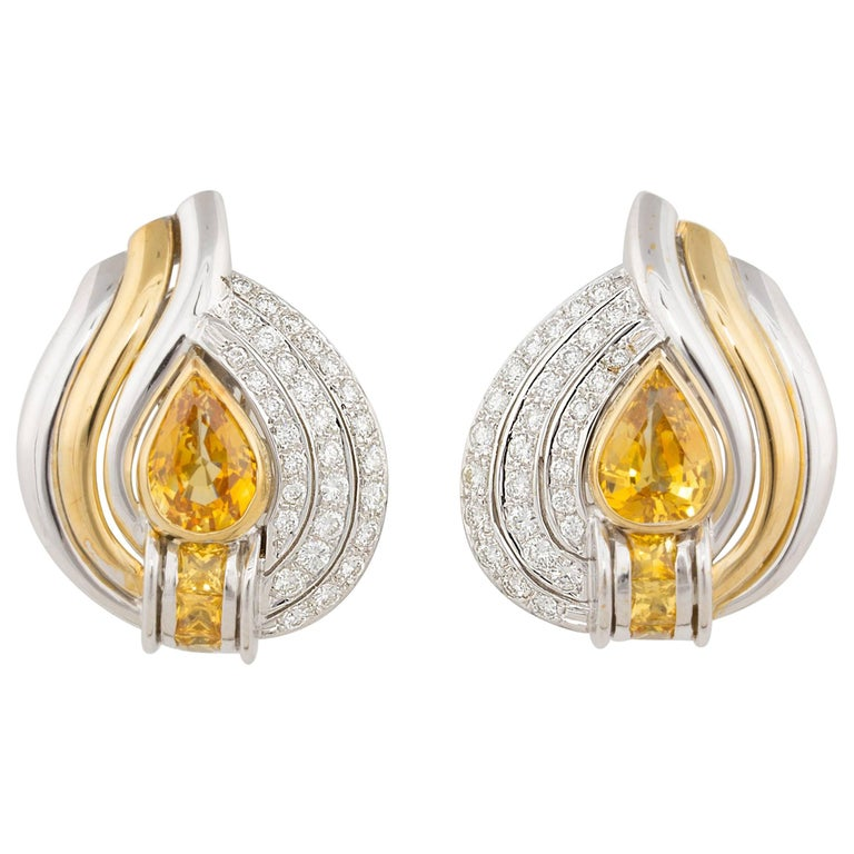 Ella Gafter Golden Yellow Sapphire and Pave Diamond Yellow Gold Clip-On Earrings