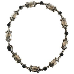 Georg Jensen Sterling Silver Necklace No. 15 with Black Onyx