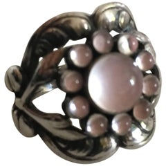 Georg Jensen Sterling Silver Ring No. 10 with Rose Quartz
