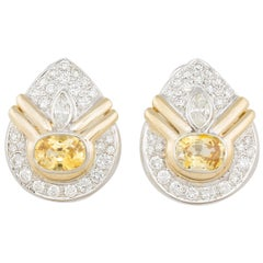 Ella Gafter Yellow Sapphire and Pave Diamond White Yellow Gold Clip-On Earrings