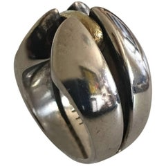 Georg Jensen Sterling Silver Ring with Gold No. 311