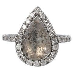 18 Carat White Gold Pear Shaped Grey Diamond Slice Engagement Ring