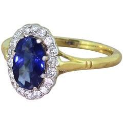 Art Deco 1.75 Carat Sapphire and Diamond Cluster Ring