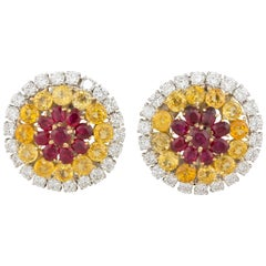 Ella Gafter Yellow Sapphire Ruby and Diamond White Yellow Gold Clip-On Earrings