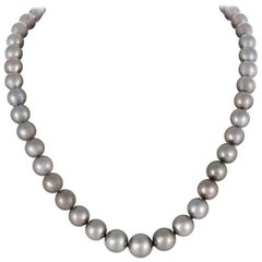 Mikimoto  Black South Sea Graduated Pearl Necklace