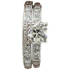 Antique .50 Carat Diamond Antique Platinum Engagement Set Jacob Brandt Company