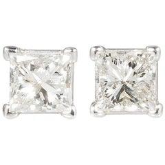 14 Karat White Gold and Princess Cut Diamond Stud Earrings 1.64 Carat