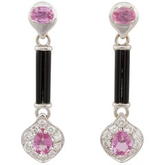 Ella Gafter Pink Sapphire Pave Diamond and Onyx White Gold Drop Earrings