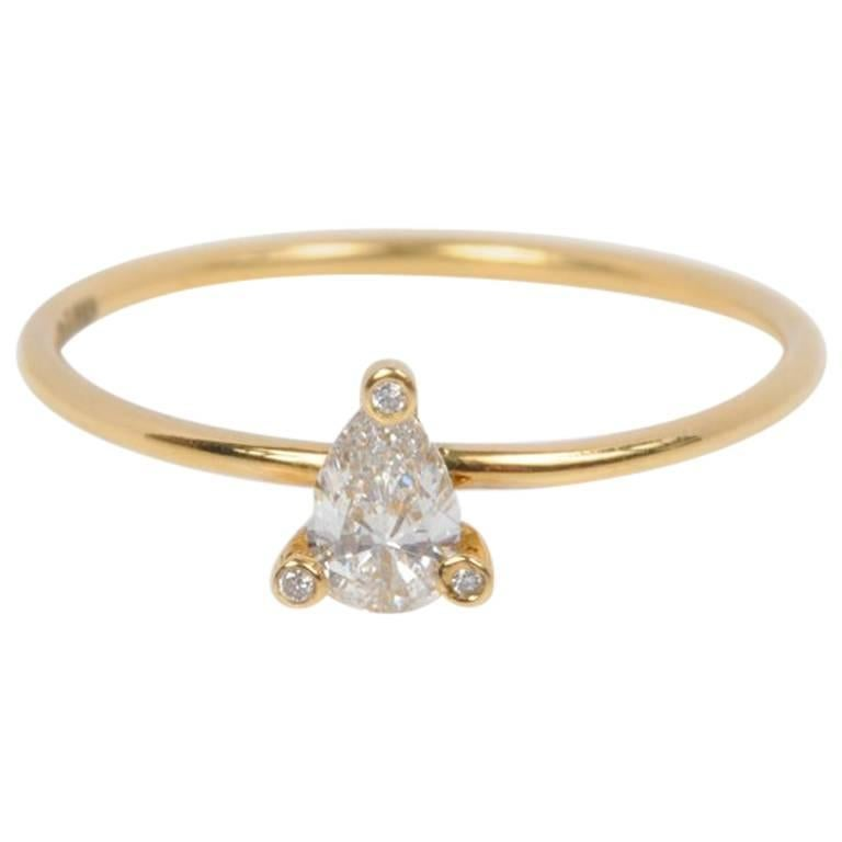 Sweet Pea 18k Yellow Gold Pear Shaped Diamond Engagement Ring