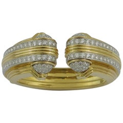 Moderne Split Front Diamond Gold Platinum Bracelet