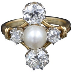 Antique Diamonds and Natural Pearl French Ring