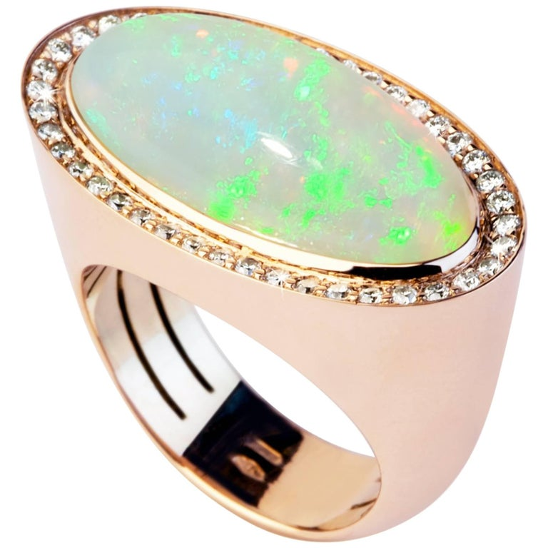 18 Karat Yellow Gold, 7.79 Flash Opal, 0.50 Carat Round Diamonds, Fashion Ring