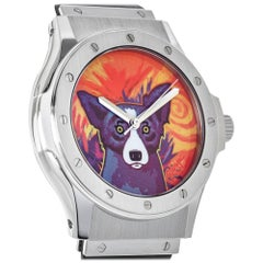 Hublot stainless steel Limited Edition Rodrigue Blue Dog Automatic Wristwatch