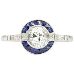 GIA Handmade Diamond Sapphire Platinum Ring