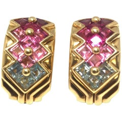 Bulgari Tourmaline and Amethyst Clip-On Earrings