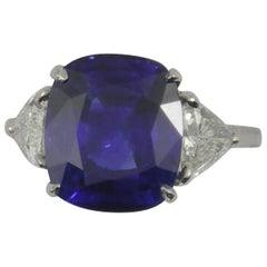 A.G.L. Certified 7.32 Carat Cushion Cut Sapphire Diamond Ring