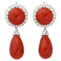 Important Platinum Coral Diamond Drop Earclips