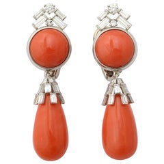 Coral Diamond Drop Earclips