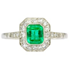 .65 Carat Emerald Diamond Platinum Ring