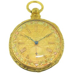 Barwise Yellow Gold Multicolored Dial Pocket Watch, circa 1840s