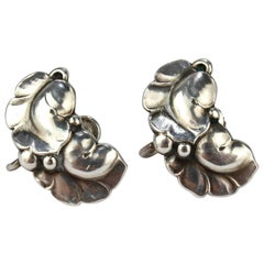 Pair of Georg Jensen Leaf & Berry No. 50A Earrings
