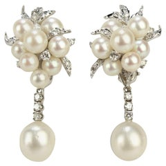 Kurt Wayne 14 Karat White Gold, Pearl Cluster and Diamond Earrings