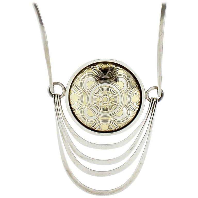 Nubia Modernist Sterling Silver Necklace by Mary Ann Scherr for Reed & Barton