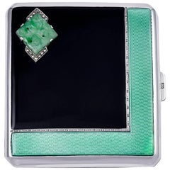 Cartier Paris Art Deco Sterling Silver, Enamel and Jade Case