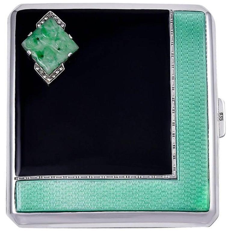Cartier Paris Art Deco Sterling Silver, Enamel and Jade Case
