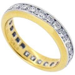 Tiffany & Co. 18 Karat Yellow Gold 950 Platinum Diamond Eternity Lucida Ring