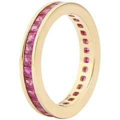 Engagement Eternity Ruby Gold Band Princess Ring