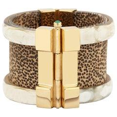 Fouche Cuff Bracelet Gold Bespoke Emerald Leopard Ruby Wood Cuff